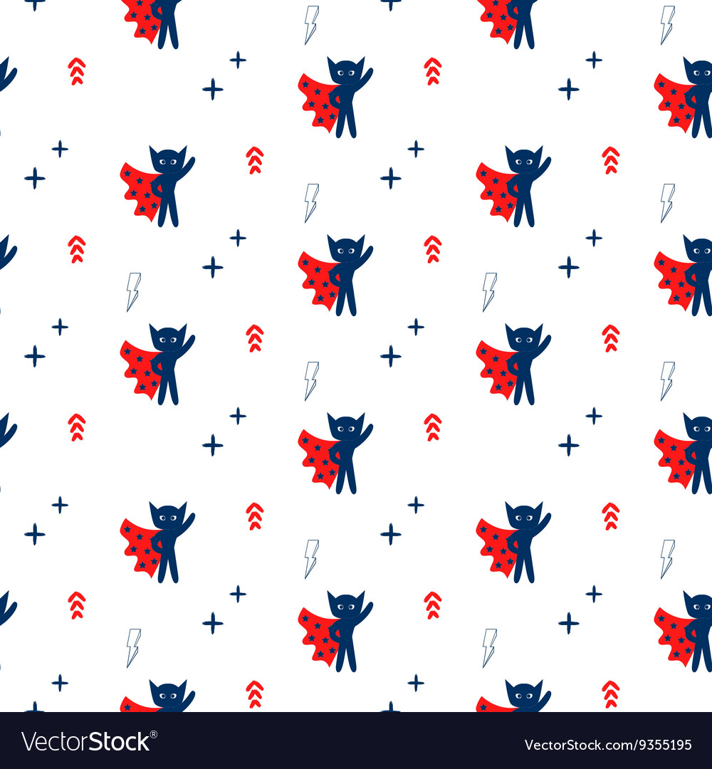 Superhero in cape with stars seamless kid pattern vector