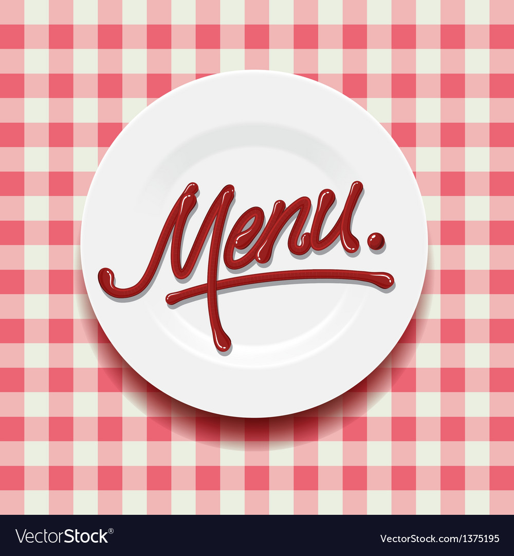 Word menu  made with red sauce on plate vector