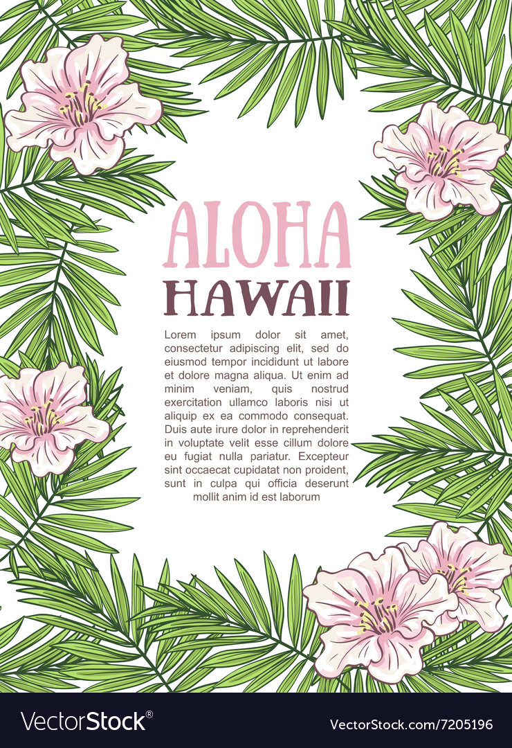 Aloha hawaii palm leaves on the white background vector