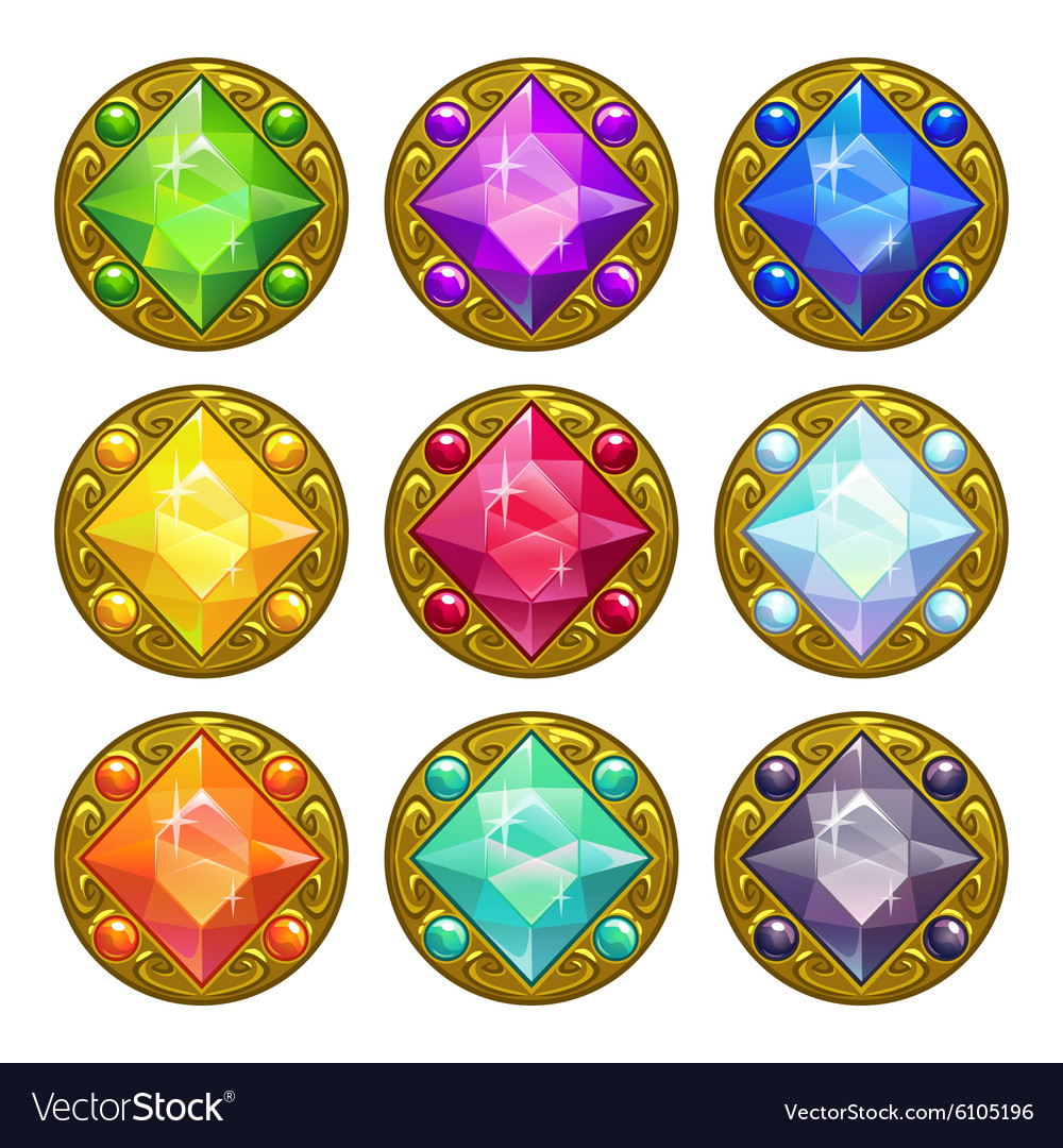 Colorful round golden amulets vector