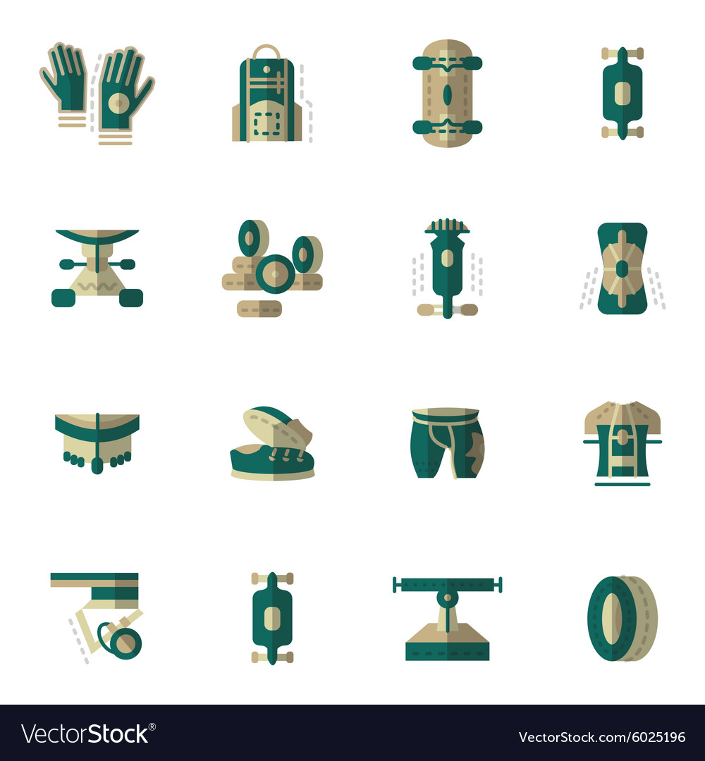 Flat simple icons for longboarding vector