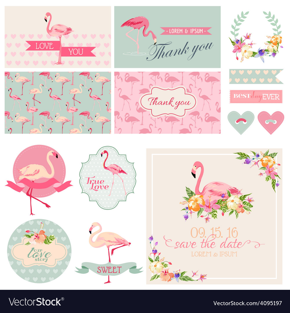 Flamingo party set  for wedding bridal shower vector