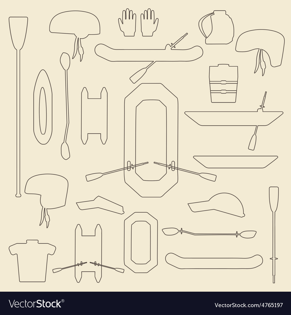 Rafting sport items linear icon set oar and vector