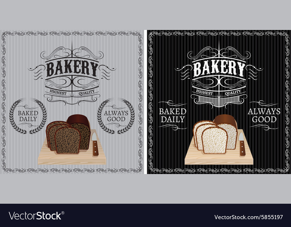Two patterns with different bread for advertising vector