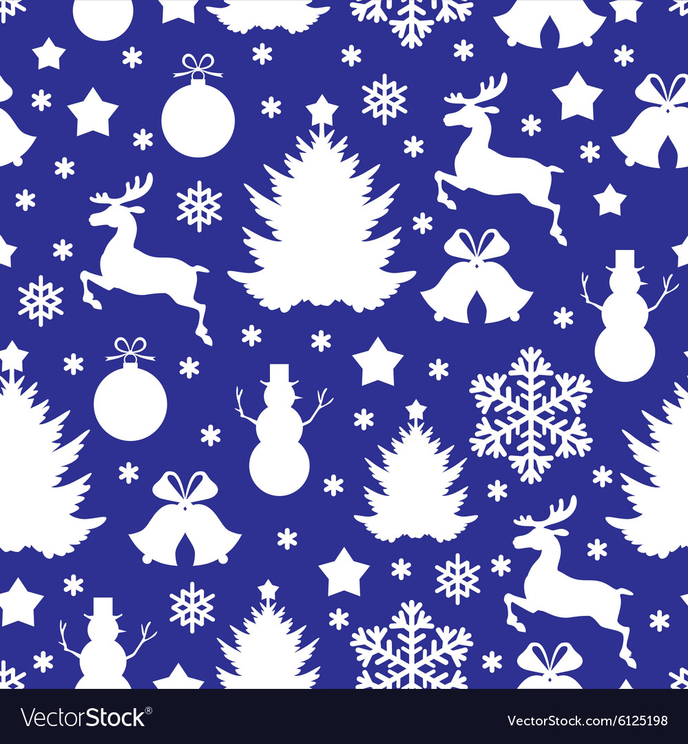 Christmas pattern blue vector