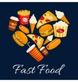 I love fast food flat icons in heart shape vector image vector image