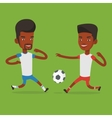 Two soccer players fighting for ball vector image