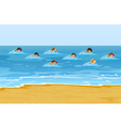 Boys and girls swimming in the ocean vector image