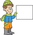 Cartoon boy wearing Winter clothing with a sign vector image