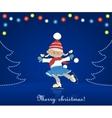 Christmas card with cartoon girl skating vector image