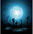 Halloween background with zombies and the moon vector image