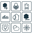 set of 9 eco icons includes delete woods insert vector image