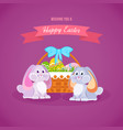 two lovely rabbits near basket with easter eggs vector image