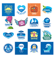 biggest collection of logos for travel and tourism vector image