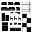 furniture set black vector image
