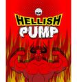 Hellish pump Satan bodybuilder with huge muscles vector image