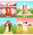 Multicultural Wedding Couples Design Concept vector image