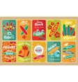Set of retro surfing typographical posters for vector image