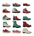 set of sports and classic shoes in turquoise pink vector image