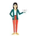 Woman holding ringing telephone vector image vector image