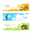 Banner set of travel colorful tropical splash vector image