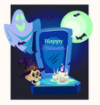 ghost and skull on graveyard halloween vector image