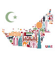 map of united arab emirates consisting of the vector image