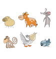 six animals cartoon characters vector image
