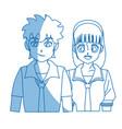 teenager anime boy and girl hair style vector image