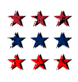 Star icons grunge texture set vector image