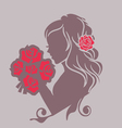 girl with a bouquet vector image vector image