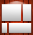 gallery interior with empty frames on wooden wall vector image vector image