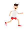 Funny cartoon running guy Cute run boy Jogging man vector image