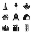 country fun icons set simple style vector image