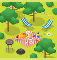 family picnic with bbq isometric view vector image