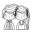 line beauty couple married with hairstyle design vector image