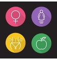 Weight loss dies flat linear icons set vector image
