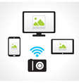 camera wi-fi connect computer smartphone tablet pc vector image vector image