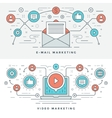 Flat line E-mail and Video Marketing Concept vector image vector image