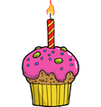cake with a candle on a birthday vector image vector image