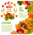 autumn season sale poster template with fall leaf vector image