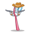 cowboy toothbrush character cartoon style vector image