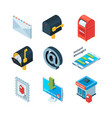 diffrent postal symbols isometric pictures of vector image