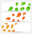Set autumn seasonal cards with changing leaves vector image