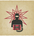terrorist with bomb old background vector image