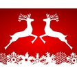 Two reindeer jump to each other vector image