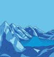 Blue mountain Glacial lake landscape modern vector image