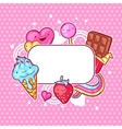 Kawaii heart frame with sweets and candies Crazy vector image