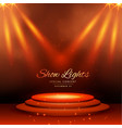 show spot lights with podium background vector image vector image