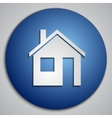 round blue Home button with paper cut image vector image
